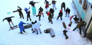 Norwegian army squad performing the Harlem Shake. Still from a video posted on YouTube on 10th February 2013.