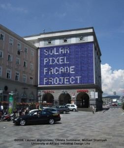 Solar Display (2008). Prototype for a solar powered media façade.