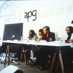APG members atDocumenta 6 in Kassel, Germany, 1977. From left to right: Ian Breakwell, Barbara Steveni, Nicholas Tresilian, John Latham and Hugh Davies. © APG/Tate Archive.